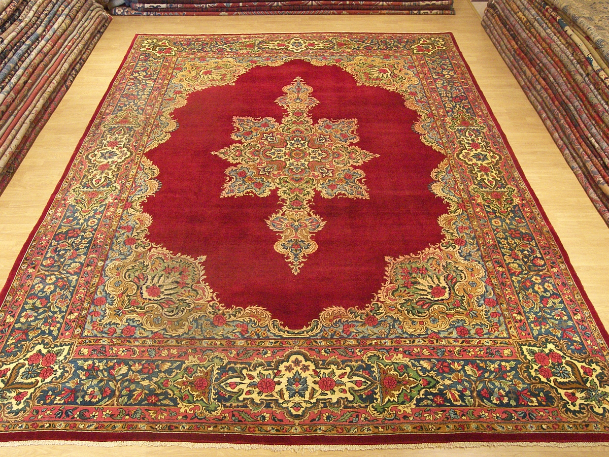 9x12 Handmade Carpet Antique Persian Laver Kerman Rug Ebay