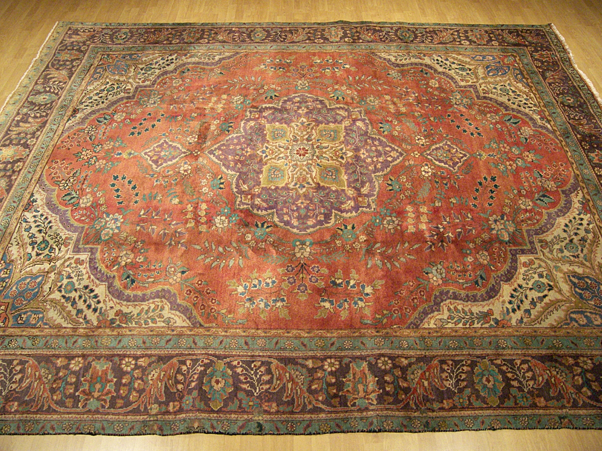 9x13 handmade antique persian tabriz heriz serapi wool rug for Warm rugs