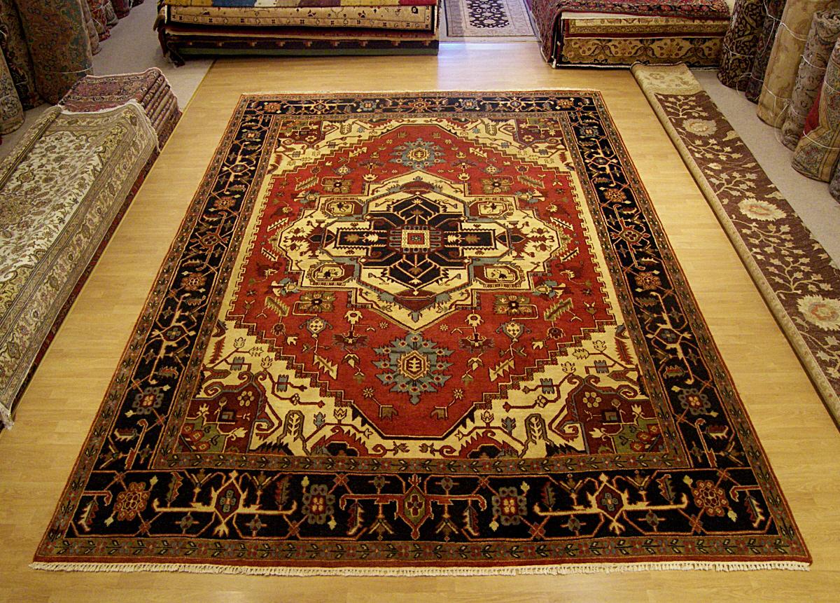 10x14 Handmade Vegetable Dye Wool Heriz Rug 2670