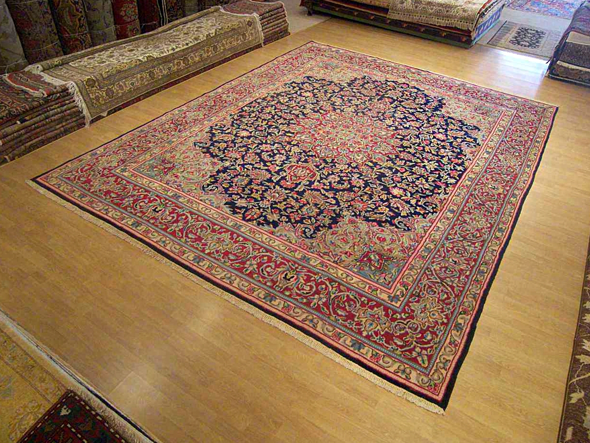 10 X 13 Handmade Persian Lavar Kerman Rug 1950s Great