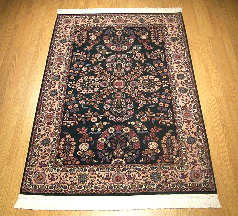 Handmade Indian Persian Rugs: 4x6 Silk & Wool Handmade Persian Isfahan Rug 477