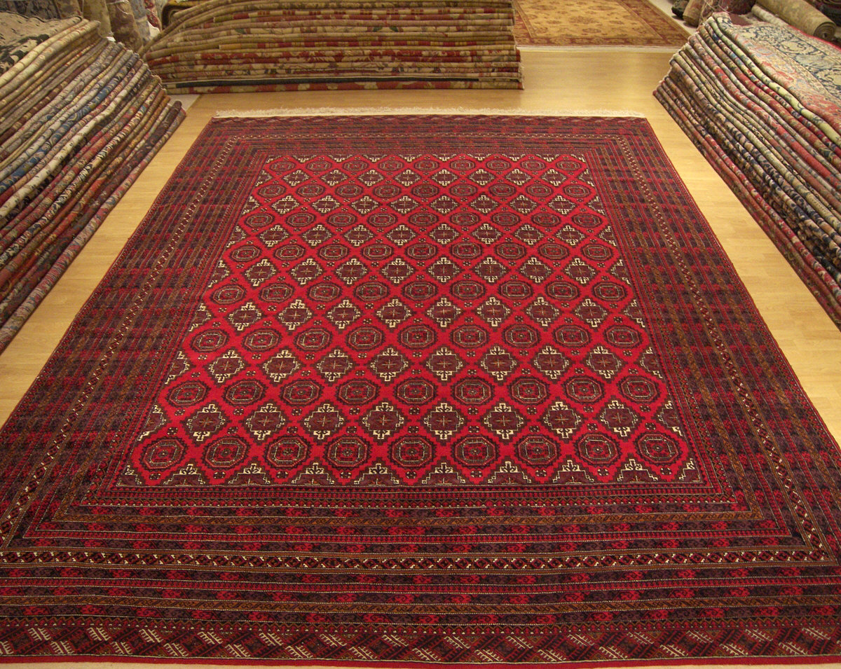 10x13 handmade turkomad bukhara afghan wool rug. Black Bedroom Furniture Sets. Home Design Ideas